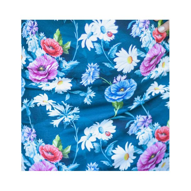Blomstret bomulds jersey - Blå