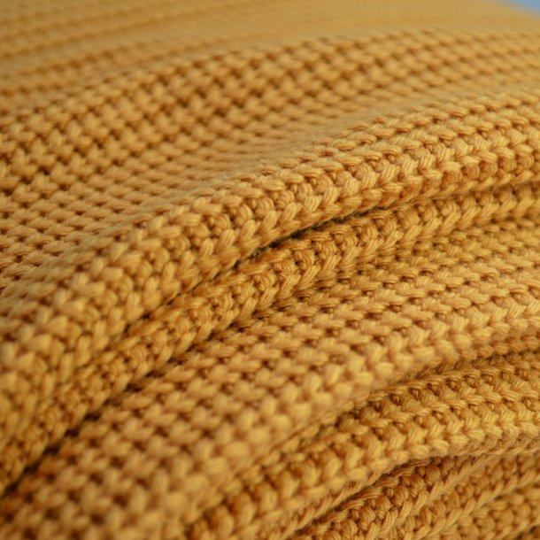 Grov bomulds strik - Okkergul