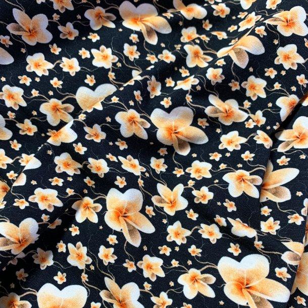 Blomstret bomulds jersey- Sort